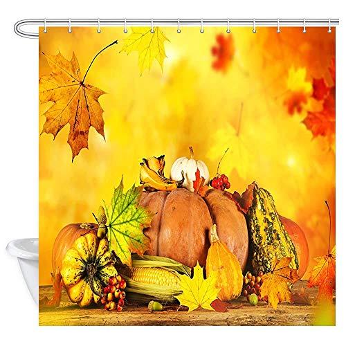YUJEJ801 Goldene Ahornblätter & Kürbis Duschvorhang 180x180 Anti-Schimmel & Wasserabweisend Shower Curtain mit 12 Duschvorhangringen 3D Digital Druck Farben Bad Vorhang für Badzimmer Dekorieren