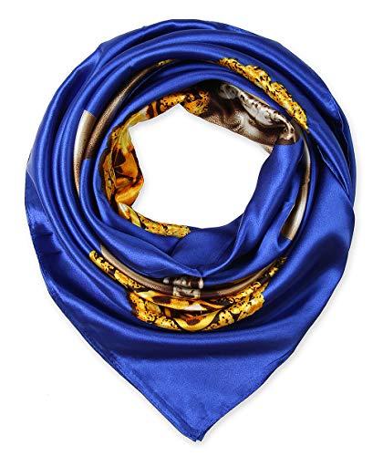 Elegant Women's Neckerchief Silk Feeling Satin Square Scarf Wrap 35' Pearl Pendant Persian Blue by corciova