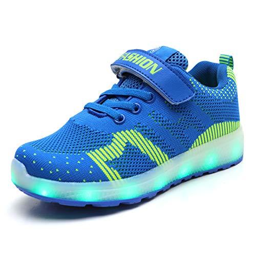 Axcer LED Zapatos Verano Ligero Transpirable Bajo 7 Colores USB Carga Luminosas Flash Deporte de Zapatillas con Luces Los Mejores Regalos para Niños Niñas Cumpleaños de Navidad Reyes Mango