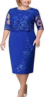 Women Formal Solid Color Lace Elegant Two Pice Set Dress Mother of Bride Dress Knee Length Plus Size Dresses