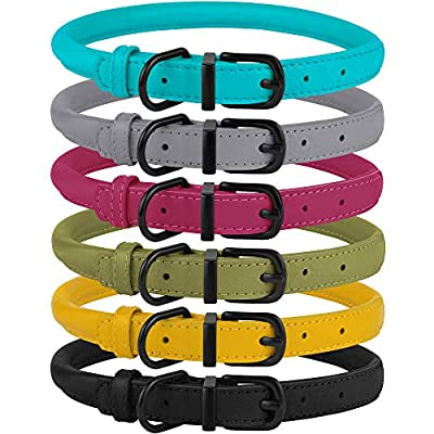 "BRONZEDOG Rolled Leather Dog Collar Soft Round Rope Pet Collars for Small Medium Large Dogs Cat Puppy Kitten Black Blue Pink Green Yellow Grey (12"" - 14"", Black Midnight)"