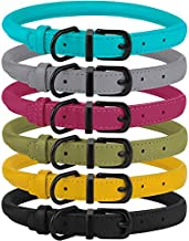 BRONZEDOG Rolled Leather Dog Collar Soft Round Rope Pet Collars for Small Medium Large Dogs Cat Puppy Kitten Black Blue Pink Green Yellow Grey (9