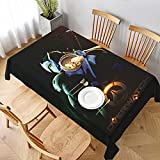 PVC Waterproof Oil-Proof Reusable Tablecloth Over-Genji Rectangular Tablecloth Washable Table Cover for Kitchen Cafe Camping 60'x90'