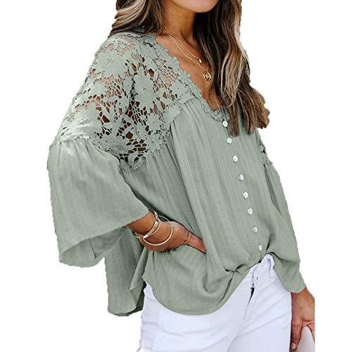Camisa Holgada De Encaje De Gran TamañO De Primavera Y Verano para Mujer, Camiseta De Gasa con Cuello En V De Color SóLido De Manga Larga, Camiseta para Mujer