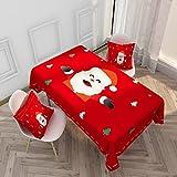 Mantel Rojo de la Serie de Navidad, pequeño Mantel Fresco de Mesa de Centro para TV, encimera de Chimenea Rectangular M-5 140x200cm