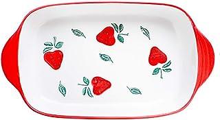 Rectangular Roasting Baking Serving Dish, Ceramic, Porcelain Floral Pizza Pie Baking Dish Cheese Serving Oven Bakeware for...