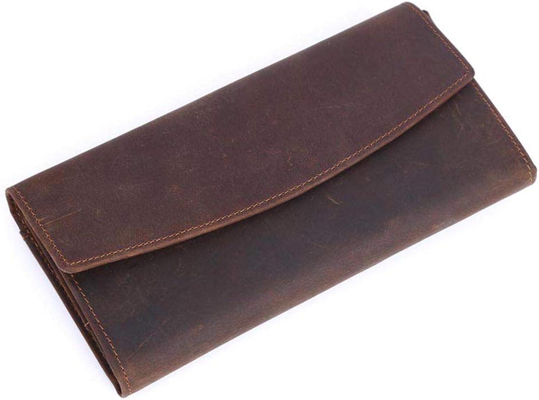XBCC Echtes Leder Lange braune Leder Geldbörse mit Krotitkartenhalter Retro-Stil Geldbörse für Herren B07JGRJV55