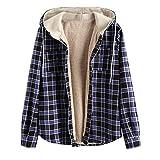 ZAFUL Men's Plaid Flannel Lined Hooded Jacket Long Sleeve Unisex Fuzzy Shirt Coat Tops (XL, Black)
