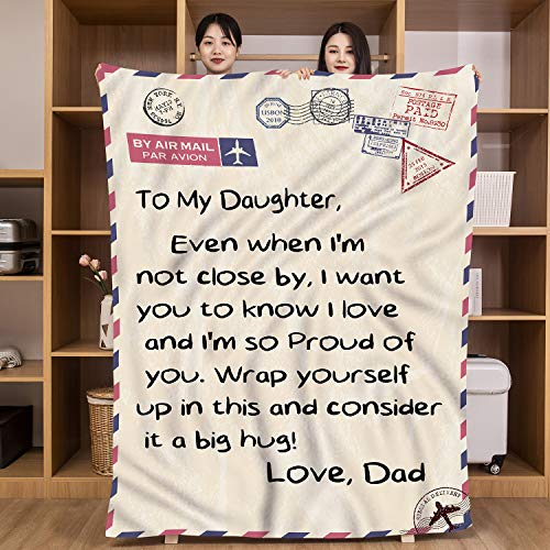 UFOORO Gifts to My Daughter Blanket from Dad Letter Hugs Throw Blanket Present Positive Energy 55x70