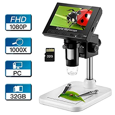 LCD Digital Microscope with 32GB Storage Card, Elikliv 4.3 inch FHD 1080P Portable Microscope 500X/1000X Magnification Camera Lens 2.0MP Video Recorder, 8 Adjustable LED Lights