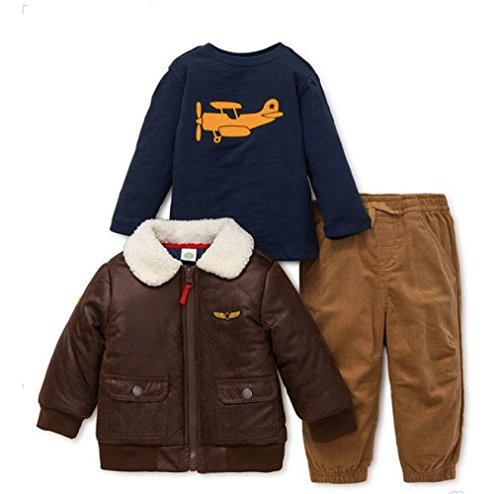 Little Me 3-Piece Aviator Bomber Jacket, Navy Shirt, and Corduroy Pant Set In Brown (3T)