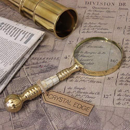 Antik Vintage lupe 8cm Perlmutt Messing Griff Landkarte nautisch