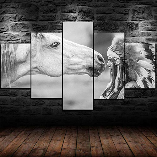 Vscdye Canvas Wall Art 5 Pieces for Bedroom Living Room Bathroom Office Kitchen Modern Home Decor Prints Artwork Picture Native American Indian Girl & Horse /150x80cm-Framed