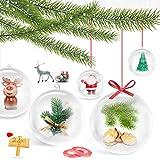 Bolas de Navidad Transparentes, 24 Piezas Bola de Adornos Navideños, 8cm Bolas Rellenables Bolas, DIY Decoraciones de Manualidades, para Fiestas Festivales Adornos Decoración Navideña de Bodas (8cm)