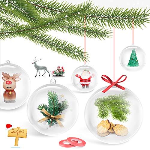 Bluelves Palle di Natale Trasparenti, 24 Pezzi Pallina di Natale Palline Riempibili, Decorazione Natalizia Albero Natale, 8cm Palline Sfere Apribili, per la Festa Compleanno Decorazioni di Nozze