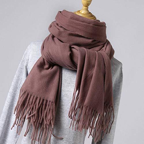 SLI-sjaal Effen kleur Imitatie kasjmier sjaal vrouwelijke doornen dikke warme sjaal mode kwast Winter Bib rode sjaal, saus paars, 200 * 70cm