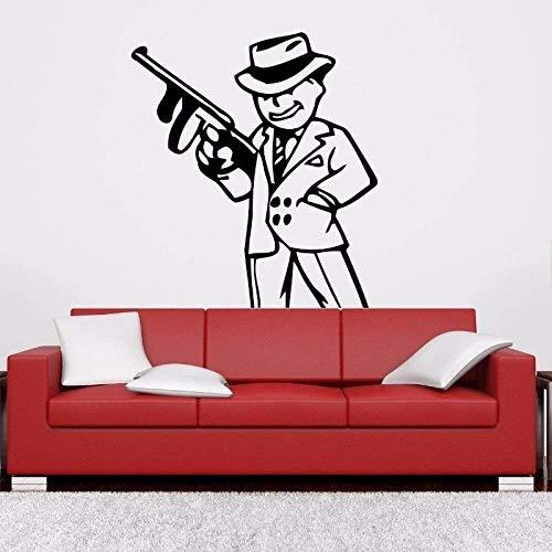 57X61Cm Mafia Gangster Poster Gun Cartoon Pegatinas De Pared Para Guardería Decoración De La Habitación De Los Niños Para El Hogar Vinilo Tatuajes De Pared Pegatina Del Dormitorio