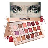 Beauty Glazed Eyeshadow Makeup Palette Neutral Nude Shimmery High Pigmented Palette 18 Matte Shimmer Glitter Long Lasting Burgundy Earth Tones Pink Eye Shadow Pallete Beauty Cosmetic