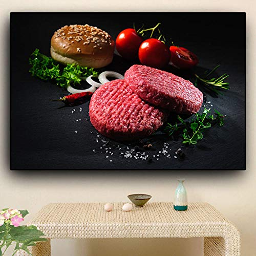 AdoDecor Vegetales Carne Hamburguesa Cocina Lienzo Pintura Carteles e Impresiones Arte de la Pared Comida Imagen Sala de Estar 40x60cm Sin Marco