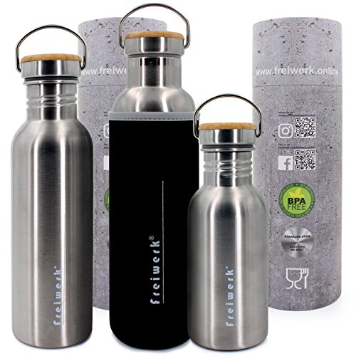Freiwerk Retro roestvrij staal outdoor fles bamboe deksel neopreen coating to go Bottle drinkfles sportfles
