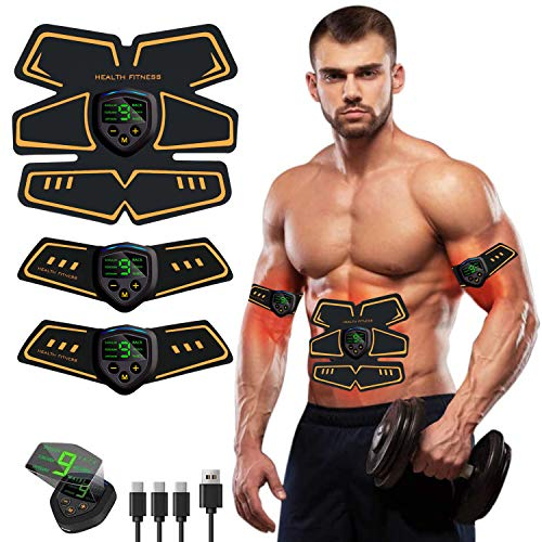 ZHENROG Electroestimulador Muscular Abdominales, EMS USB Recargable Estimulador Muscular Abdominales para Abdomen/Cintura/Pierna/Brazo/Glúteos