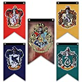 Harry Potter House Wall Banners - Complete Hogwarts House Wall Banner - Perfect Indoor Outdoor Party Flag - Gryffindor, Slytherin, Hufflepuff, Ravenclaw Banner Set (5 Pack) (20 inch * 12 inch)