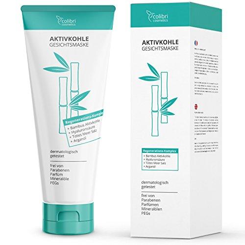 Aktivkohle Gesichtsmaske mit Totes-Meer-Salz - Reinigt die Poren und verwöhnt das Gesicht - Detox...