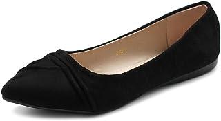 Ollio Women`s Shoe Ballet Dress Faux Suede Pleated Pointed Toe Flat