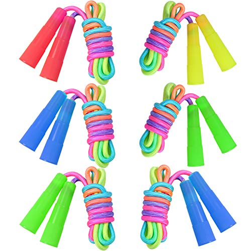 ELCOHO 6 Pack Rainbow Jump Rope Set Jumping Ropes Physical Education Skipping Rope