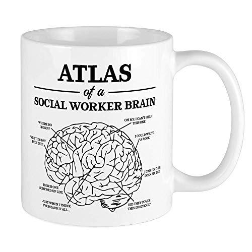 Tassen,Lustiger Atlas eines Sozialarbeiter-Gehirns 11-Unze-Keramik-lustiger Geschenk-Becher 11oz