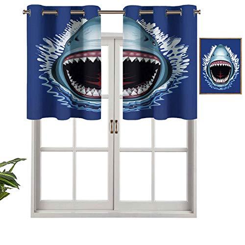 Hiiiman Cenefa de cortina con ojales de alta calidad para ataque de boca abierta, dientes afilados, peligro de mar, vida silvestre y vida marina, juego de 1, 127 x 45 cm para decoración de interiores