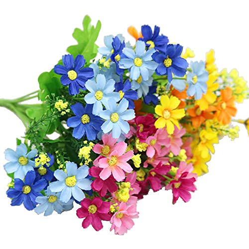 Artificial Wild Flowers for Decoration, Faux Silk Daisy Flower Bouquet, Plastic Flowers in Vase, Fake Flowers for Graves, Indoor/Outdoor, and House Garden Decor