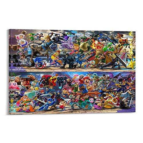 DFER Póster de juegos Super Smash Bros Ultimate Poster Pintura decorativa Lienzo de pared Arte de sala de estar Carteles de dormitorio Pintura de 40 x 60 cm