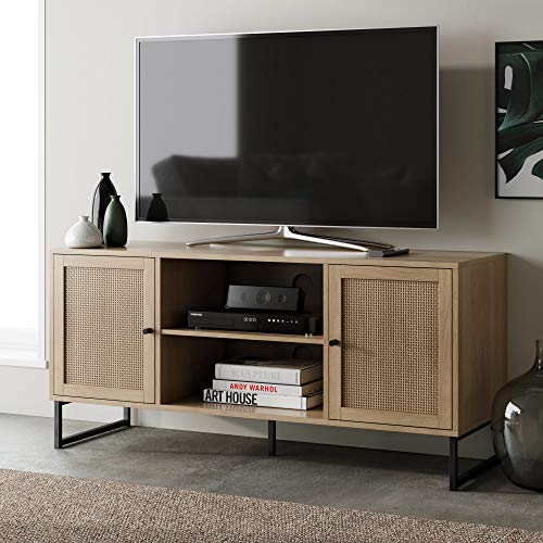 Nathan James Mina Modern TV Stand Entertainment Cabinet, Console with a Natural Wood Finish and Matte Accents with Storage Doors for Living Media Room, Oak/Black