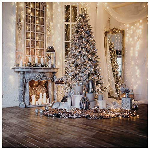 WOLADA 10x10ft Christmas Backdrops for Photography Christmas Tree Photography Backdrops Vinyl Christmas Photo Backdrop Studio Props 11715