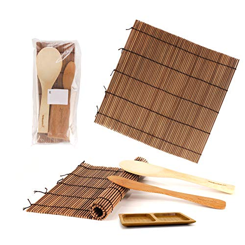 BambooMN Sushi Making Kit 2X Carbonized Bamboo Rolling Mats, 1x Rice Paddle, 1x Spreader and 1x Compartment Sauce Dish