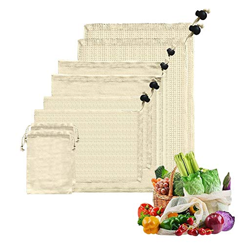 AOKKR Bolsas de Malla Reutilizables, 8 unidades, bolsas reutilizables compra, Algodón 100% Ecológico para Verduras y Frutas 4 Tamaños diferentes (Se pueden lavar a máquina)
