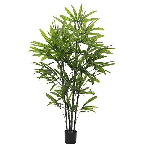 artplants.de Künstliche Steckenpalme mit 4 Stämmen, 175cm, wetterfest - Kunststoff Rhapis Pflanze - Deko Palmen Baum