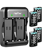 2800mAh Controller Battery Pack for Xbox One/Xbox Series X/Xbox One S/Xbox One X/Xbox One Elite, Rapthor 4 x 2800 mAh High Power Rechargeable NI-MH Batteries Kit with Charger (4 Batteries+Charger) photo