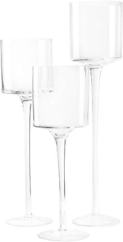 2021 Royal outlet sale Imports Glass Candleholder Flower Vase, Floating & Pillar Candle Centerpiece Display, Decorative Hurricane on Pedestal for Home or Wedding online sale Set of 3, Clear online