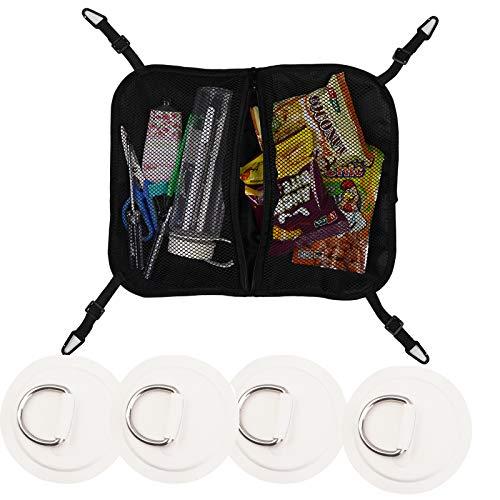 Tkkeuep Paddleboard Deck Bag with 4 Stainless Steel D-Ring Pad,SUP Mesh Bag, Deck Storage Bag