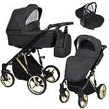 KUNERT Kinderwagen MOLTO PREMIUM Sportwagen Babywagen Autositz Babyschale Komplettset Kinder Wagen Set 3 in 1 (Schwarzer Strich, Rahmenfarbe: Gold, 3in1)