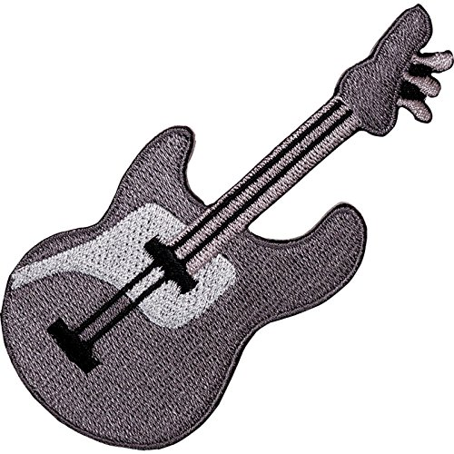 Parche bordado de guitarra eléctrica gris para planchar o coser