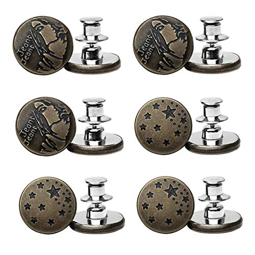 6 Sets Jean Button Pins,Button Pins for Jeans,Jean Button Replacement,17mm Instant Buttons Jean Button for Pants Jean Buttons,Removable Metal Button to Extend or Reduce Pants Waist Size (D4-6P)