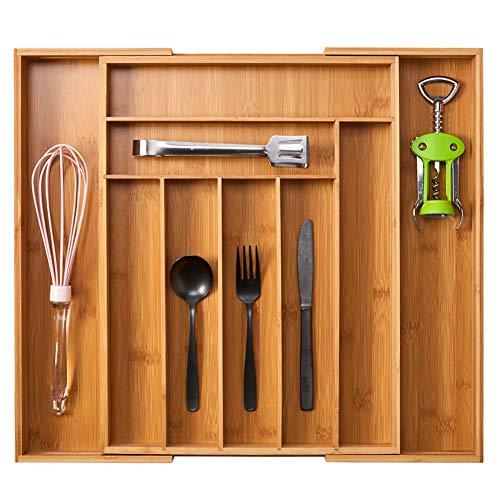EZOWare Cubertero Extensible de Madera Bambú para Cocina Cajón, Adaptable 7 a 9 Compartimentos Porta Cubiertos Bandeja Organizador para Guardar Utensilios, Cuchillos, Cuberteria
