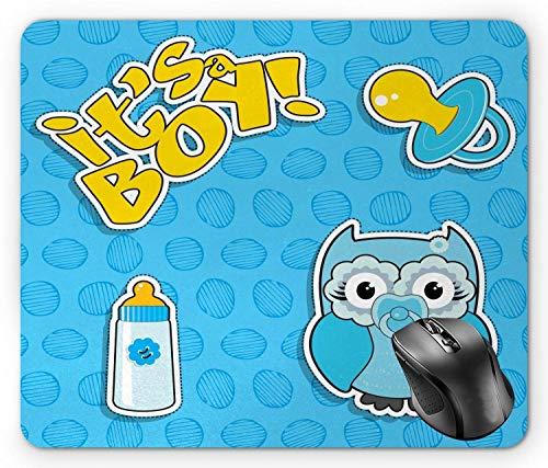 Gender Reveal Mouse Pad, Baby Owl mit Schnuller und Flasche Es ist ein Boy Typografie Baby Blue Sky Blue und Senf Mouse Pad