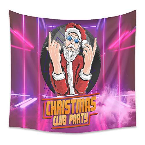 HJFGIRL Wandteppich Lustiger Weihnachtsmann Foto Wandbehang Weihnachtsdekoration Wandteppiche Große Tischdecken Wanddecke Tagesdecke Hintergrund Für Schlafzimmer Wohnzimmer,E,130x150cm(51x59inch)