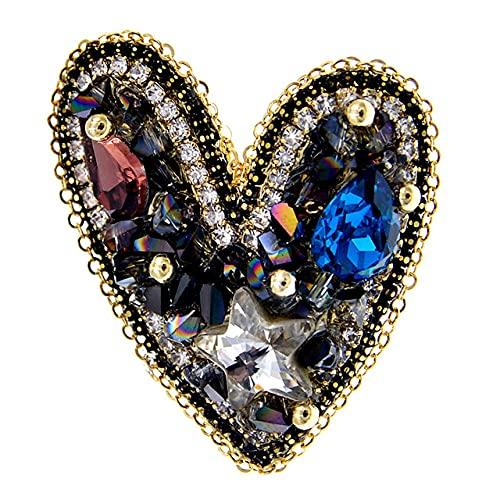 RWJFH Broche Broches Hechos a Mano para Mujer, Multicolor, con Diamantes de imitación, Broche de Moda, Azul
