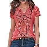 Elesoon Camiseta de verano para mujer, talla grande, bohemio, étnico, tribal, de encaje, hueco, raglán, manga corta, con cuello en V, camiseta, A-rojo, 48