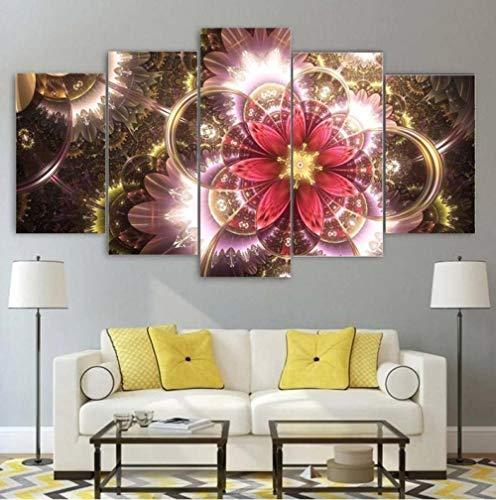 Leinwandbilder 5 Teilig Bilder Leinwanddrucke Retro Bunte Blumen Psychedelisch 5 Modern Wandbilder Leinwand Wohnzimmer...